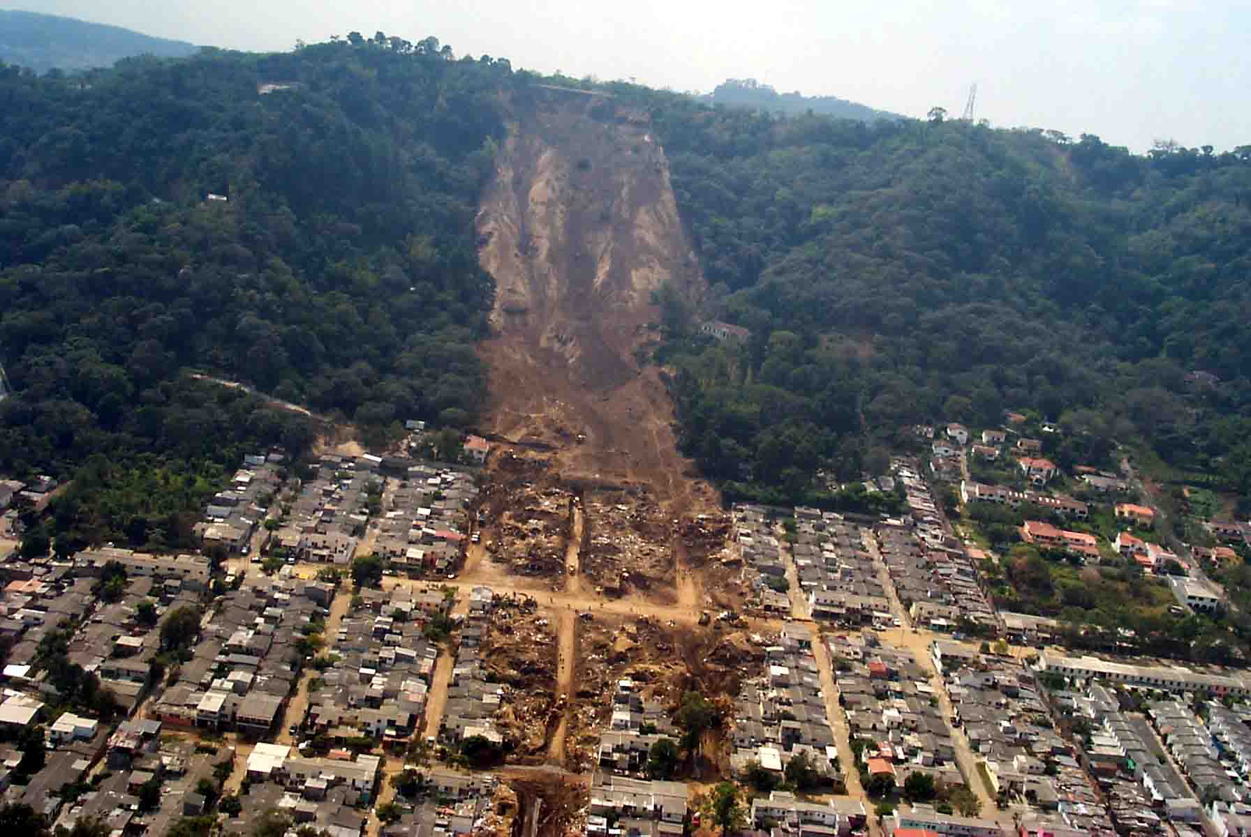 Aerial view of landslide that buried Colonia Las Colinas.